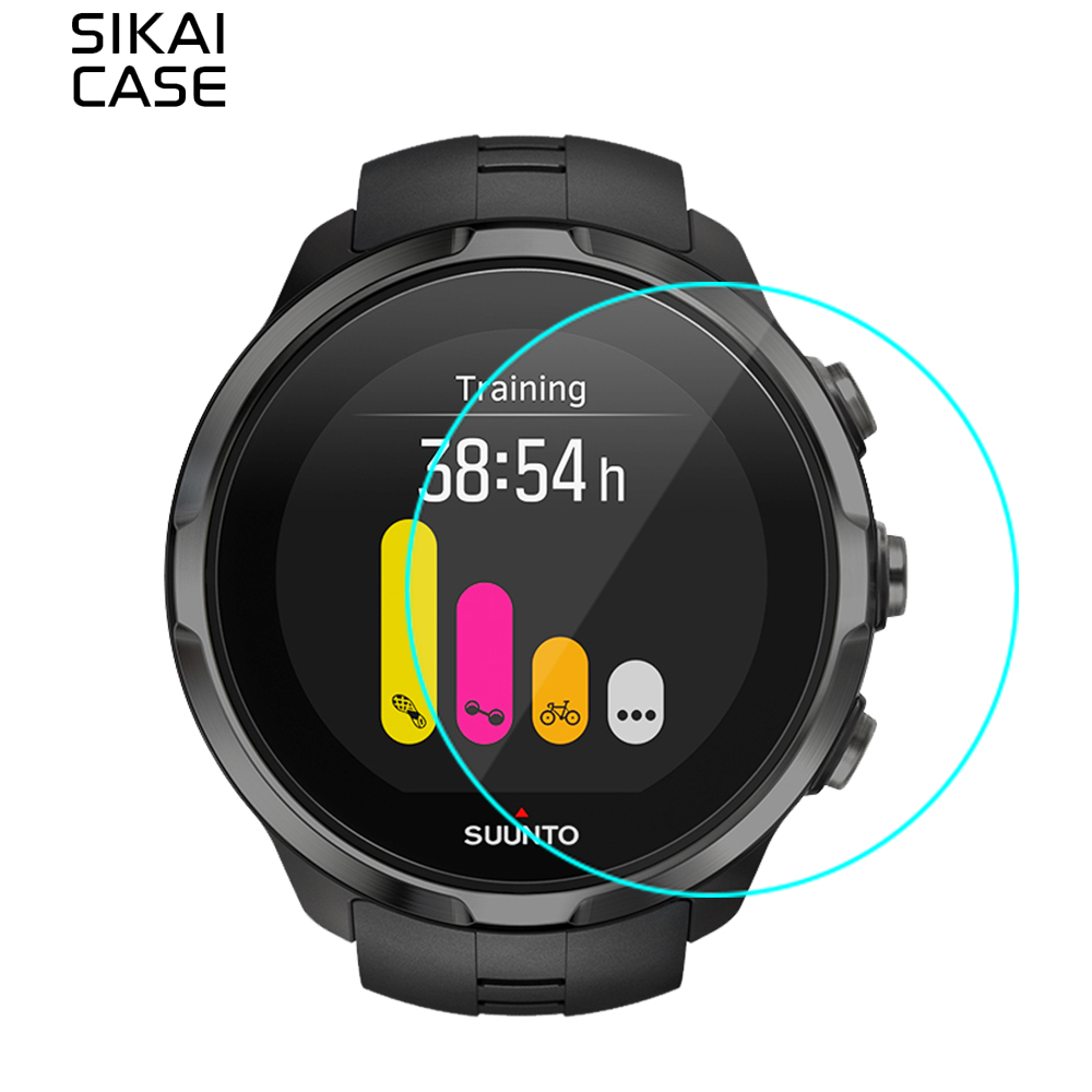 SIKAI 2stk härdat glas skärmskydd för Suunto Spartan Sport Watch Anti-Scratch Protective Screen Guards For Suunto Watch