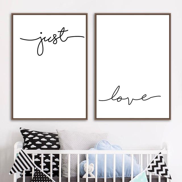Black White Geometric Heart Quotes Love Wall Art 1