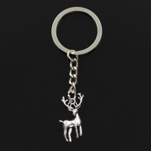 Keychain Jewelry Key-Ring Bronze Silver-Color Vintage Fashion Metal 27x18mm-Pendant 30mm