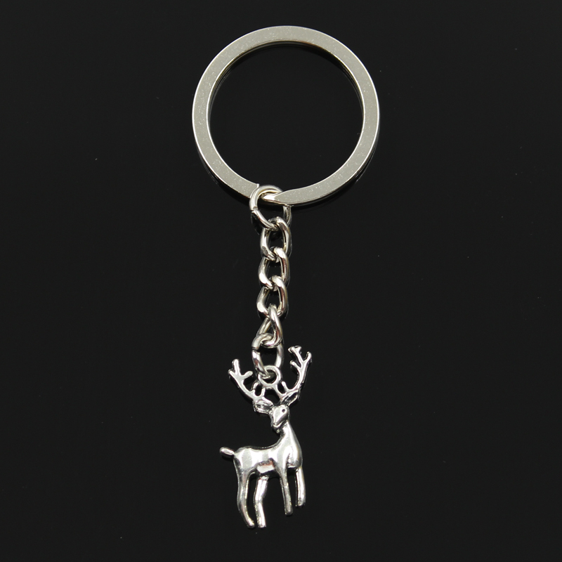 Fashion 30mm Key Ring Metal Key Chain Keychain Jewelry Antique Bronze Silver Color Vintage Christmas Deer Sika 27x18mm Pendant