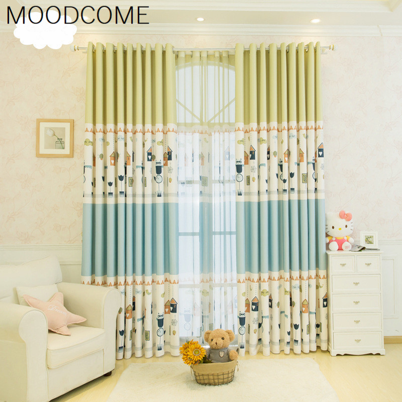 Korean American Pastoral Curtains For Cute Living Room Curtains Cartoon Childrens Room Boys And Girls Bedroom Curtain Shade