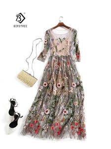 Party-Dresses Embroidery Flower Runway Vestido Floral Vintage Boho Bohemian Women 2pieces