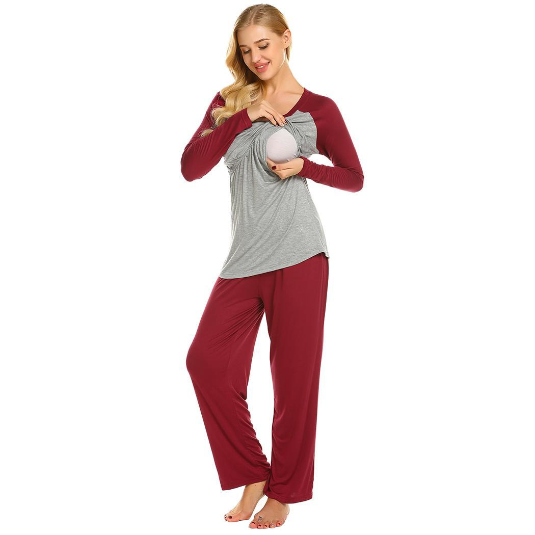 Ekouaer Women Pajamas Set Casual Cotton O-Neck Long Sleeve Maternity ...