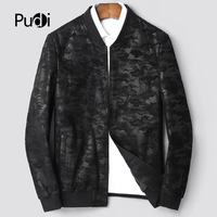 PUDI MT834 2018 Men new fashion real sheep camouflage leather jackets with collar fall winter casual outwear