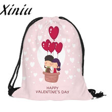 Xiniu heart Drawstring Bag woman happy Valentine's Day Satchel Backpack Bags Schoolbag Bundle Pocket string Storage Rucksack#W(China)