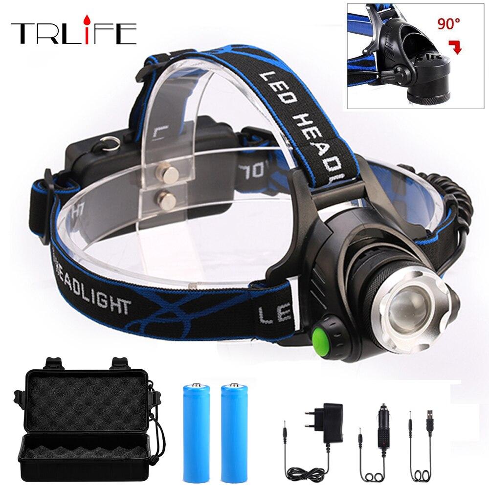 RU 10000LM Led faro CREE XML-L2/T6 Zoomable cabeza antorcha lámpara cabeza de la linterna por 18650 batería para la pesca caza