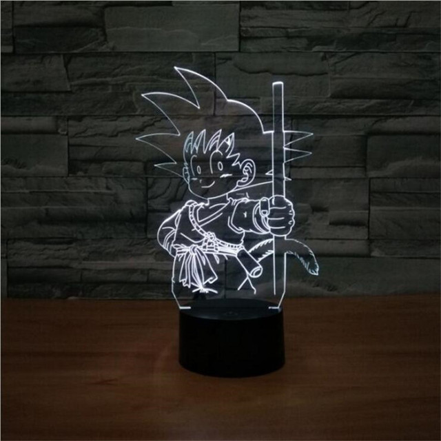 3D Illusion Lamp Dragon Ball Goku USB Led Sleeping Nightlight Wukong Touch Button Table Lampara Atmosphere 7 Color Gradient