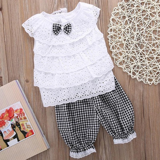 Baby Girl's Lace Sleeveless Blouse and Cotton Plaid Pants