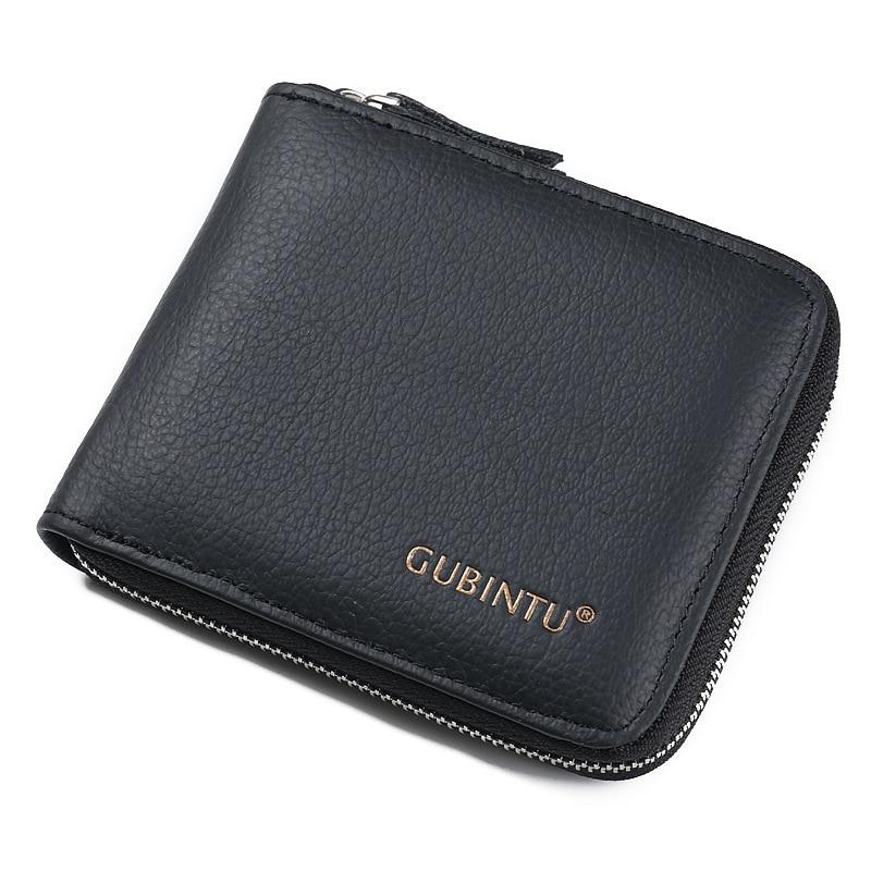 GUBINTU Brand Men's Genuine leather wallet with coin purse male money bag card holder for man