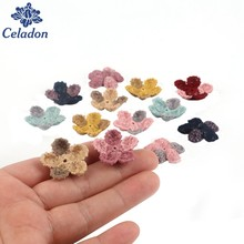 Double Color 20pcs 25mm Woolen flower Handmade 3d Flowers for Headbands Appliques Sewing Wedding Garment dresses Accessories DIY(China)