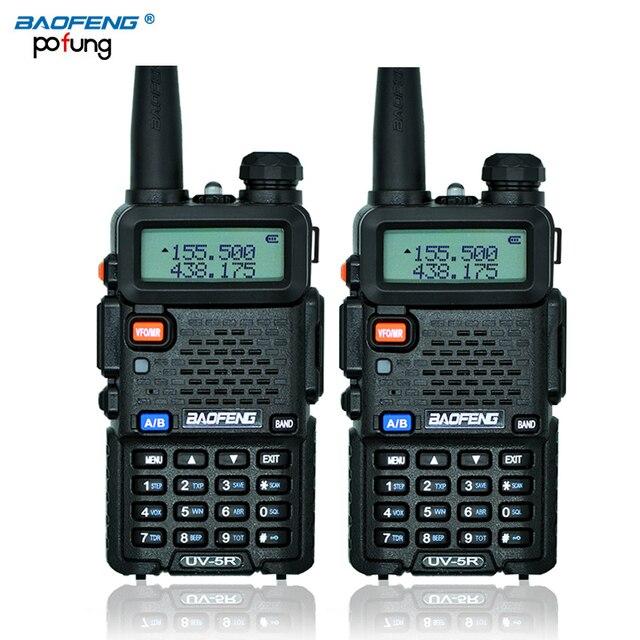 Российские акции 2 ШТ. Черный BaoFeng УФ-5R walkie talkie трансивер CB радио baofeng uv5r 5 Вт УКВ Dual Band двухстороннее радио