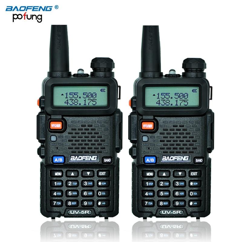bilder für 2 Stücke BaoFeng UV-5R Walkie-talkie Baofeng UV5R Schinken CB Radio 5 Watt 128CH taschenlampe VHF UHF Dualband Zweiwegradio für Jagd Radio