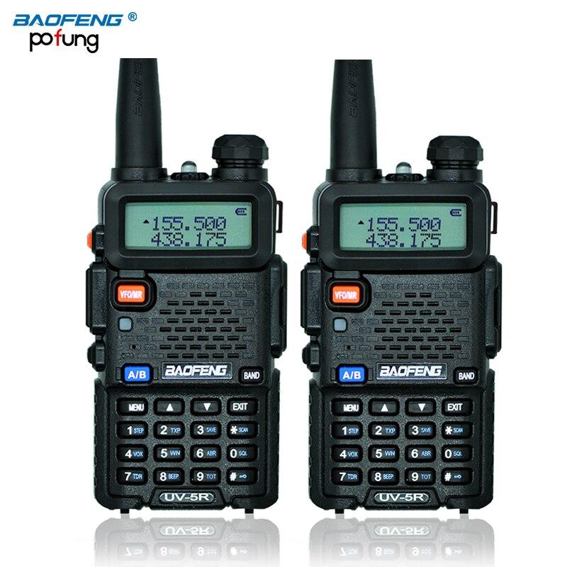 2 unids baofeng UV-5R walkie-talkie baofeng UV5R jamón CB Radios 5 W 128CH linterna VHF UHF de banda dual dos vías Radios para Caza Radios