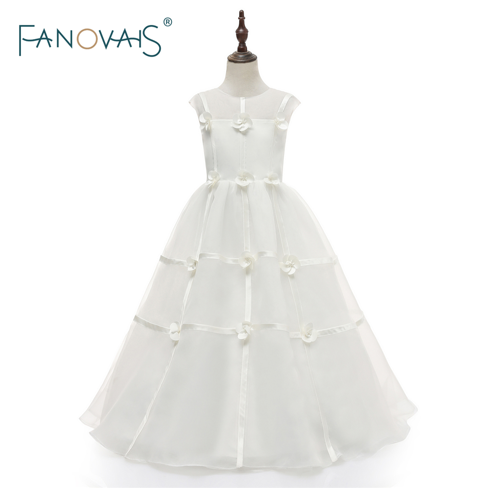 2018   Flower     Girl     Dresses   Ankle-length Princess Sweet Kid Party   Girls     Dress   Cap Sleeves Organza Floral Pageant   Girl   Gown FL10