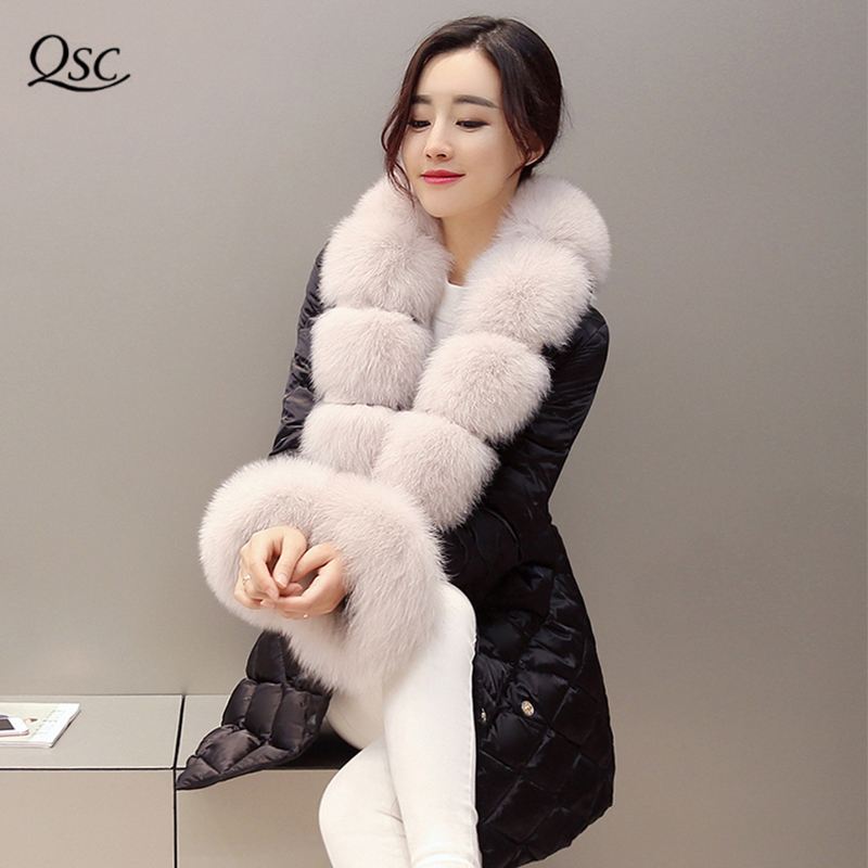 Зимние пальто Для женщин 2018 новый роскошный натуральным лисьим меховой воротник большой куртка длинное теплое зимнее пальто тонкий черный