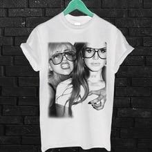 Lana Del Rey and Lady Gaga Vintage T Shirt White Tee shirt Unisex Tees Men Summer Short Sleeves