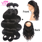 Human Hair Bundles With 360 Lace Frontal Closure Brazilian Body Wave YELO Hair Non Remy Human Hair Extensions Natural Color 4PCS