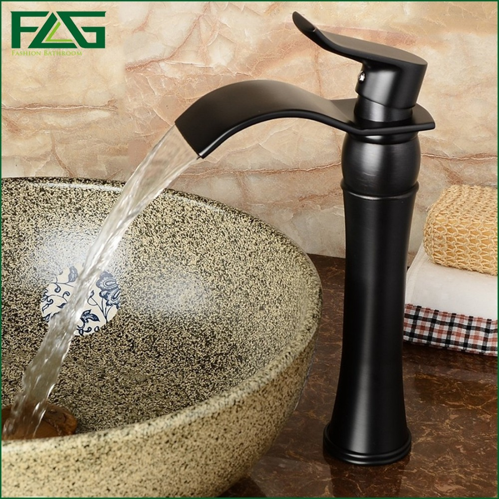 ФОТО European Basin Faucet Oil Rubbed Bronze Platform Heightening Waterfall Faucet Fountain Vessel Faucet Tap Cold &Hot Kraan FLG3575