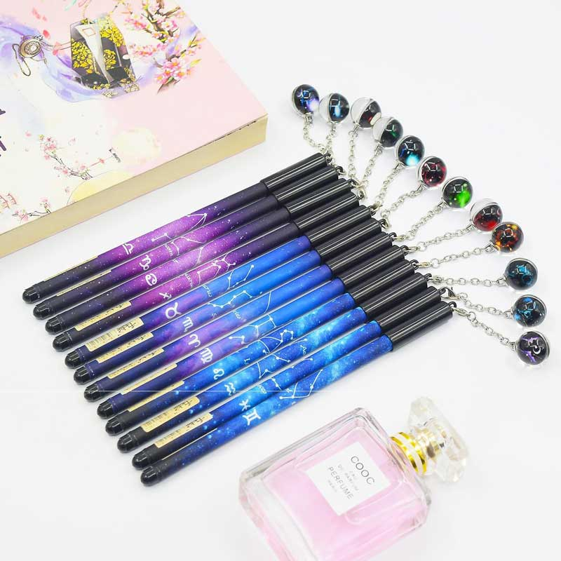 Cute Twelve Constellations Luminous Zodiac Sign Horoscope Astrology Pendant 0.5mm Gel Pen for Office School Stationery Supplies(China)