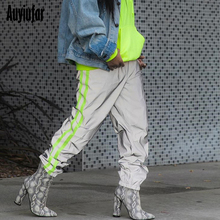 Auyiufar Baggy Reflective Neon Strip Cargo Pants in