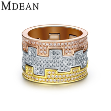MDEAN Oro Blanco Plateó Los Anillos para las mujeres anillo de compromiso del anillo de bodas Mujeres Bague Anillos de la vendimia de Lujo CZ diamond joyería MSR874
