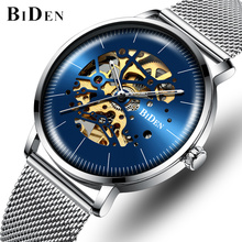BIDEN Men's Self-Winding Mechanical Watches Men Fashion Stainless Steel Automatic Watch Luxury Business Waterproof Wrist Watches pagani design automatic watch men waterproof mechanical watches mens self winding horloges mannen dropship