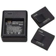 Goldfox 2pcs 1010mAh Rechargable Battery + Dual USB Charger for Xiaomi Yi for Xiaoyi Sports Action Camera Li-ion Camera Battery