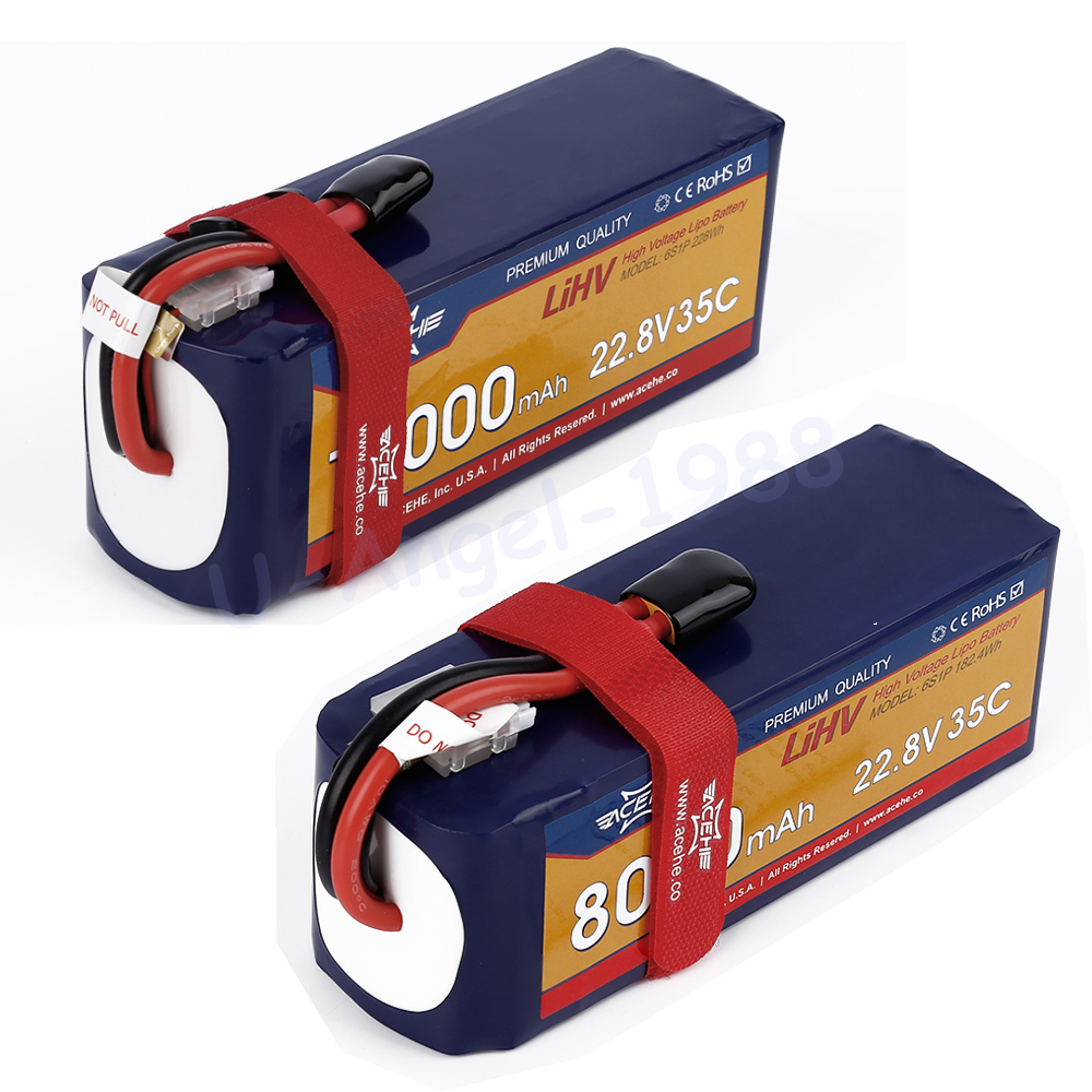 все цены на 1pcs Acehe 22.8V 8000mAh 10000mah 35C 6S1P 182.4Wh 228Wh XT60 Plug High Voltage Lipo Battery