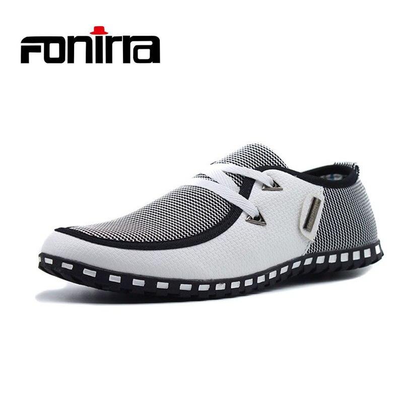 Homens Sapatos Casuais Luz Respirável Sapatos Flats Loafers Slip On Flats Mens Sapatos de Condução de Couro Plus Size FONIRRA 38-47 176