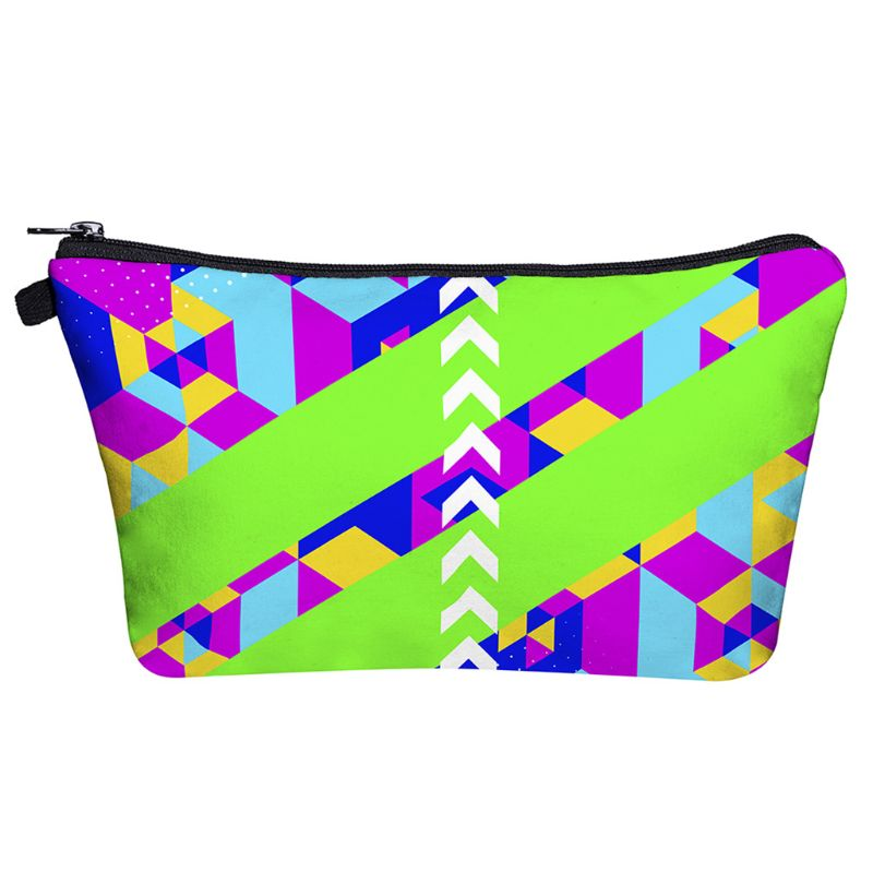 Makeup Bag Toiletry Pouch Waterproof Cosmetic Bag with Geometrical Patterns 517D