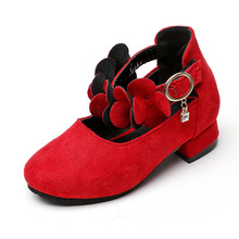 2017 Autumn Baby Girls Casual Leather Shoes Flowers Female Children Low-Heeled Shoes Suede Fashion Kids Princess Party Shoes
