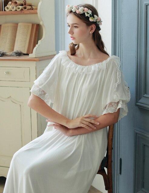 White Sleepwear Dress Princess Lace Nightgow Summer Long Nightgown Round Neck Sleepwear Soft modal inner home dress High quality