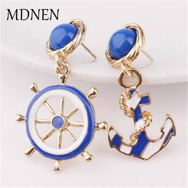 New Classic Asymmetry Earrings Fashion Jewelry Accessories Navy Anchor Rudder Drop Earrings For Women Party Wedding Jewelry