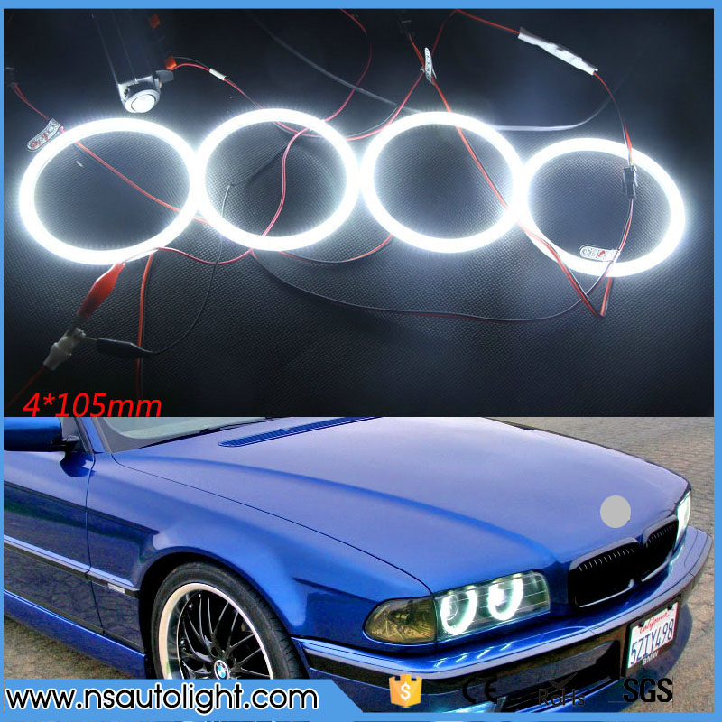 цена 4* 105mm Bright White SMD HALO RINGS ANGEL EYES lights 2004-2006 For BMW E46 3 Series 2D 2 Door Coupe 2DR Facelift