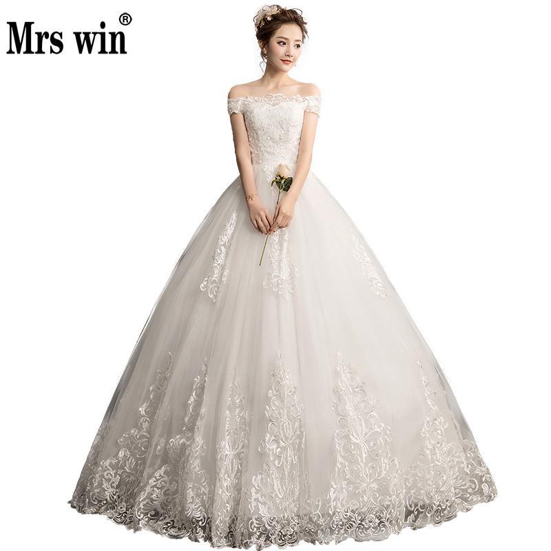 2019 New Vestido De Noiva Mrs Win Boat Neck Vestido Casamento Princess Simple Wedding Dress Luxury
