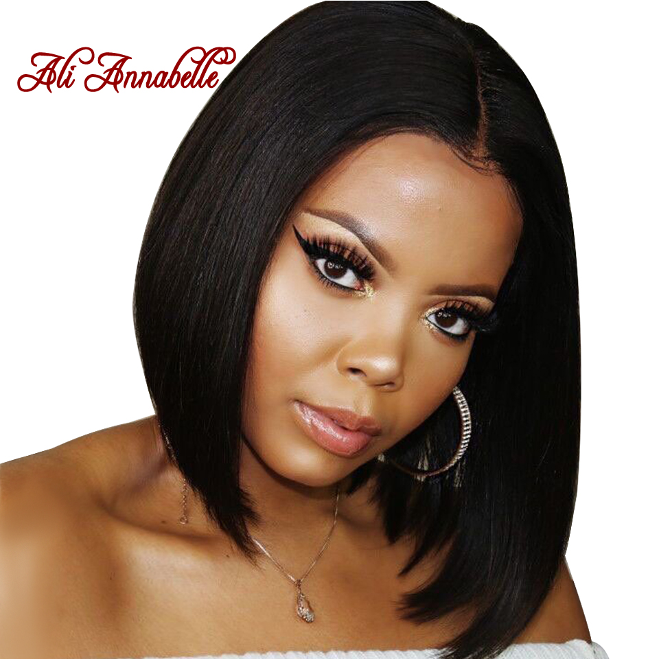 Brazilian Straight Lace Front Human Hair Wigs Short Bob Wig With Baby Hair Natural Hairline Lace