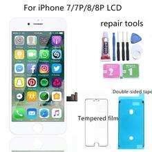 1 pçs lcd para o iphone 7 mais 8 8 mais display lcd tela de toque assembléia substituição boa 3d toque livre navio