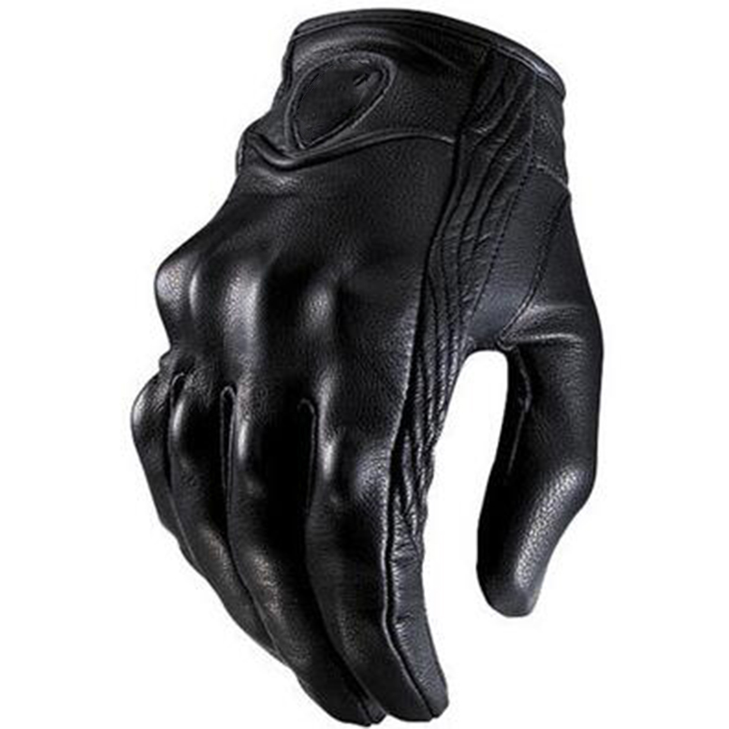 GOOFIT Outdoor Sports Motorcycle Gloves Real black Genuine Leather All Season Glove Touch Screen Perforate Men Racing Motorbike