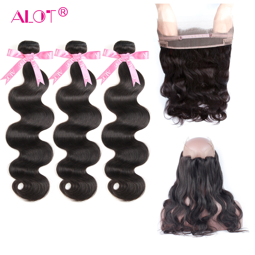 ALOT Brazilian Body Wave 3 Bundles With 360 Lace Frontal Closure Human Hair Weave Non Remy