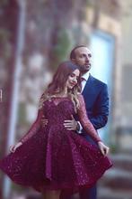 2016 burgund Plum Kurze Brautkleider Sheer Long Sleeve mit Perlen Pailletten Sagte Mode Short Kleider Benutzerdefinierte