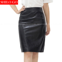2017 Autumn Winter Fashion Women High Quality Sheep Leather Office OL Wild Temperament High Waist Leather