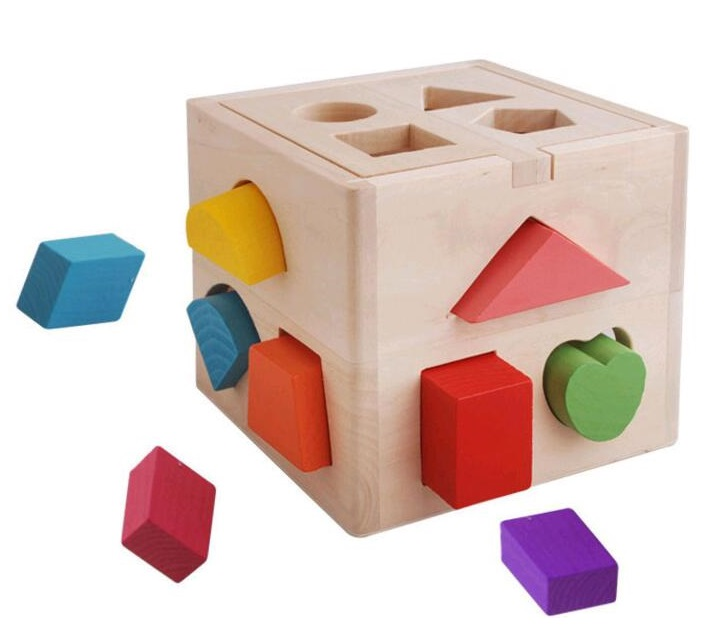 Baby Toys Shape Sorting Cube Classic Educational Wooden Toys For Children Intellectual Toy Geometry Box Blocks