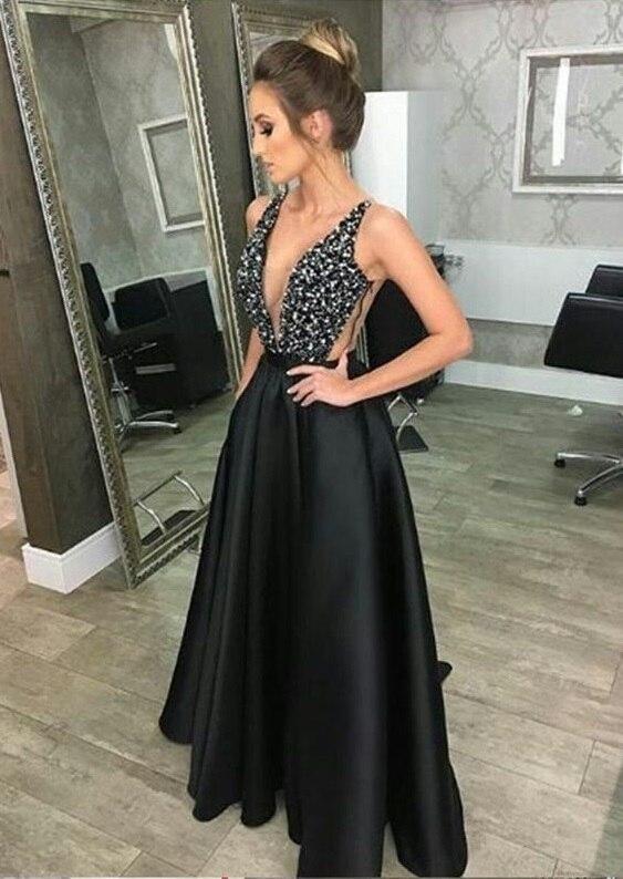 long dress for woman sexy backless luxury maxi dinner dresses 2019 robe high waist suspenders Deep v neck black dress elegant in Dresses from Women 39 s Clothing