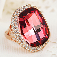 925 Sterling silver high quality fashion AAAA crystal Red crystal rose gold Women Ring Couple gift Fine jewelry girls big rings