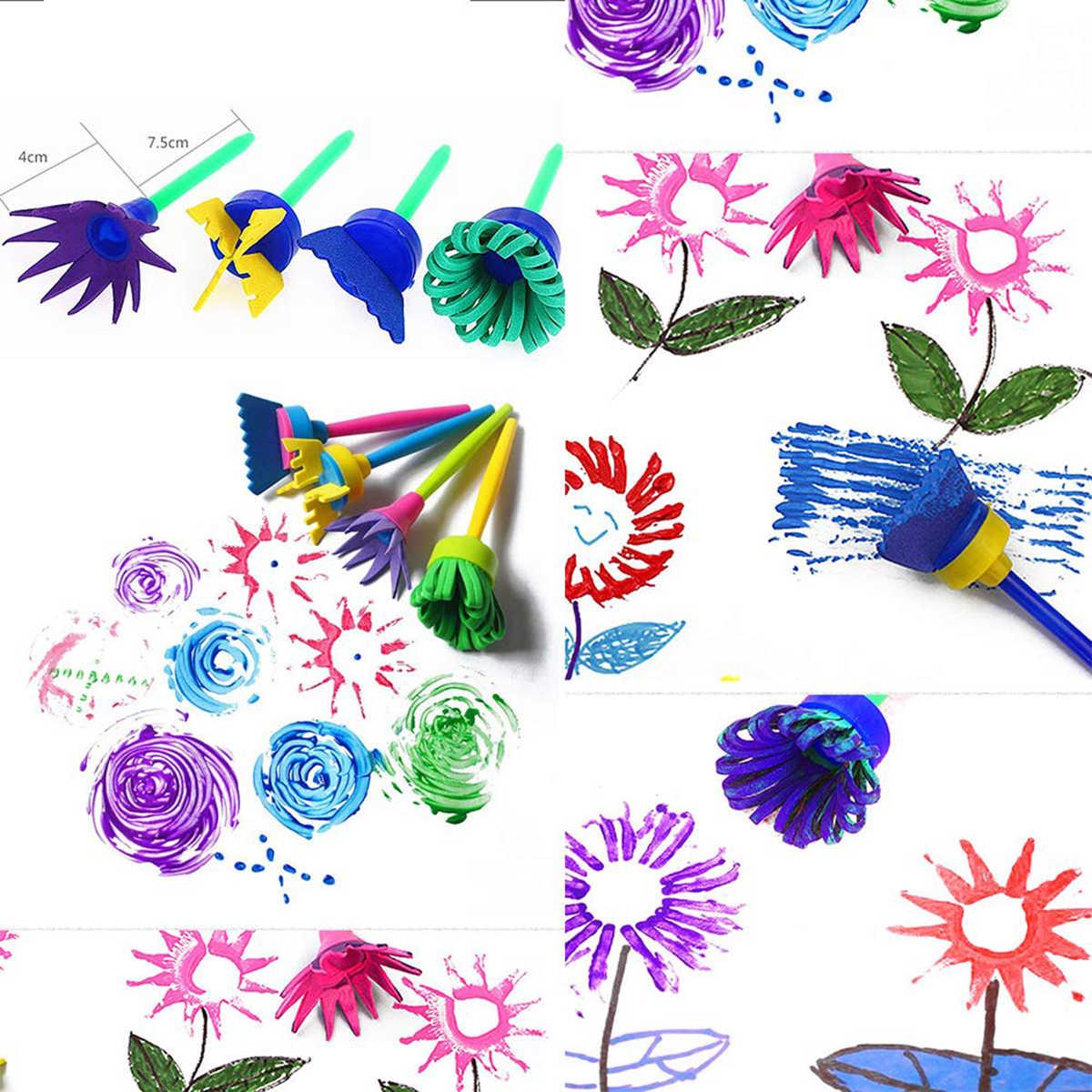 18 יח'\סט ילדים ציור ציור כלי סט ילד למידה מוקדמת צעצוע ציור מברשות עם עמיד למים סינר אמנות סטים