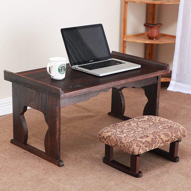 Asian Antique Furniture Japanese Floor Table Folding Leg Rectangle 80x45cm  Living Room Wooden Laptop Desk Coffee - Asian Antique Furniture Japanese Floor Table Folding Leg Rectangle