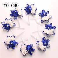 YO CHO 10 шт. свадебный цветок на руку, свадебное украшение, свадебный браслет с розами, Шелковый PE искусственный цветок для невесты, подружки не...