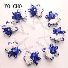 YO CHO 10pc Bridal Hand Flower Wedding Decoration Mariage Rose Wrist Bracelet Silk PE Artificial Brides Bridesmaid Wrist Flower