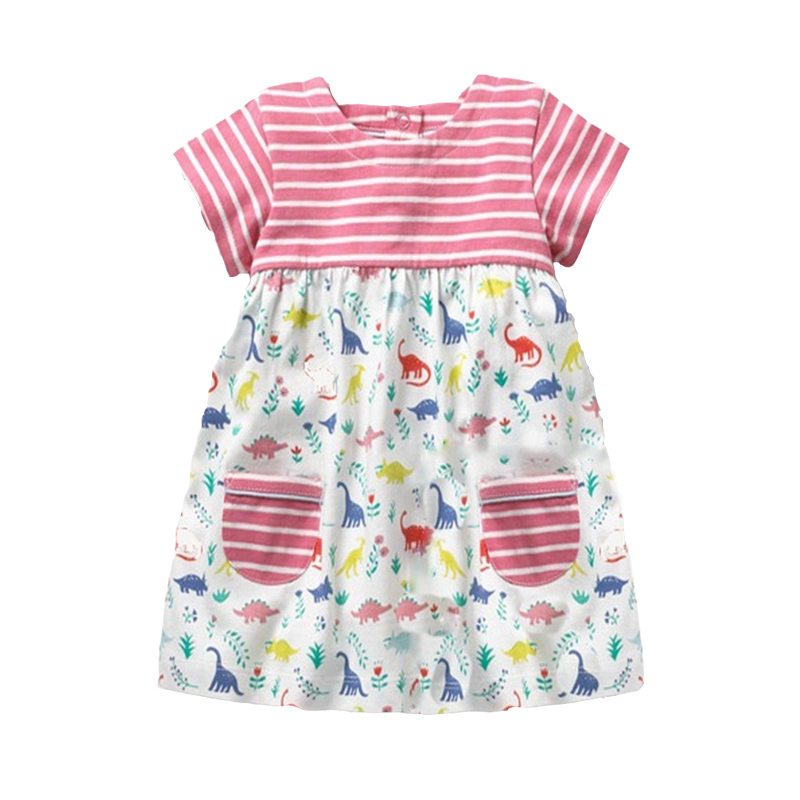 Retail Dresses for Girls Kids Baby Girl Dress Princess Summer Stripe Dresses Cotton Pocket Children Clothing JM6828 Mix 4 8y retail dress for girls baby girl children tutu dresses princess party dresses vestidos kids girls clothes neat sh5460 mix