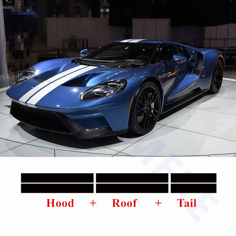 Car Styling Car Hood Roof Tail Decor Sticker Racing Sport Body Strips Auto Customized Decals For Ford GT